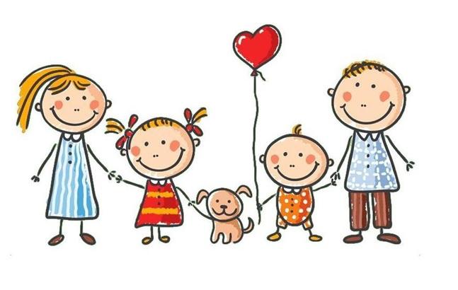 Opis zdjęcia: grafika szczęśliwej rodziny od lewej mama trzyma za rękę córeczkę, dziewczynka na smyczy pieska przy piesku chłopczyk z balonikiem w kształcie serduszka, trzyma za rękę tatę.