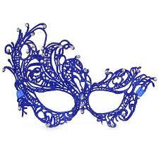 niebieska, karnawałowa, wenecka maska ażurowa