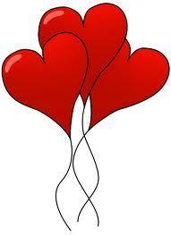 grafika, trzy czerwone balony w kształcie serc unoszą się w górę