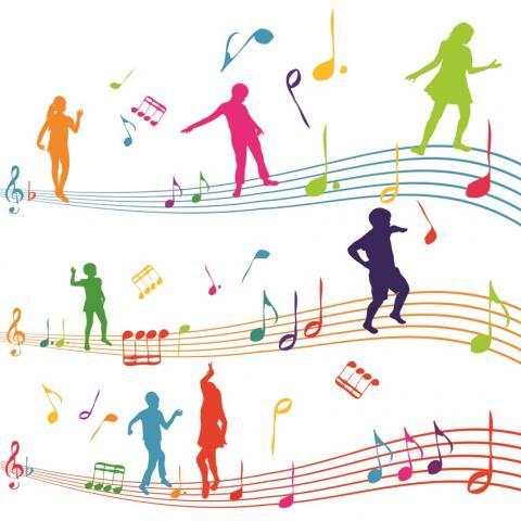 Grafika: na pięcioliniach kolorowe sylwetki tańczących ludzi wymieszanych z zapisem nutowym.