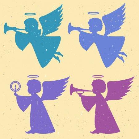 grafika wektorowa - cztery anioły, dwa latające, dwa stąpające, trzy z nich z trąbkami, jeden z płonącą świecą.
