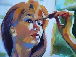 obraz - malująca rzęsy kobieta