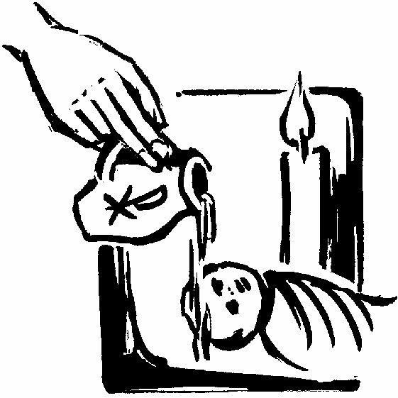 grafika: przedstawiająca chrzest dziecka, polanie głowy wodą święconą, w tle płonąca świeca